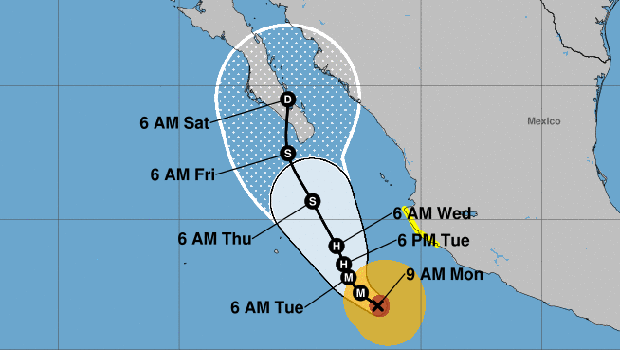 Hurricane Bud's probable path off Mexico's Pacific coast is displayed in this graphic from the National Weather Service.