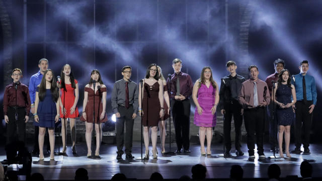 Drama students from Florida's Marjory Stoneman Douglas High School performs at the Tony Awards in New York on June 10, 2018.