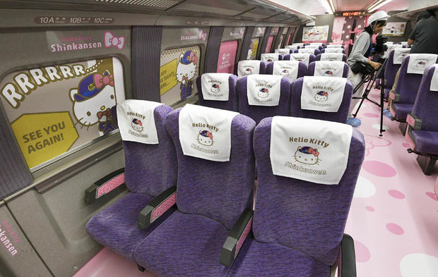 West Japan Railway Co. unveils a Shinkansen bullet train featuring Hello Kitty during the press preview at Nakagawa Town in Fukuoka Prefecture, Japan