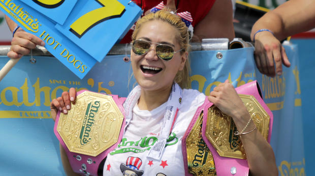 Miki Sudo celebrates after winning the women's annual Nathan's Famous hot dog eating contest on July 4, 2018, in the Coney Island neighborhood of the Brooklyn borough of New York City.