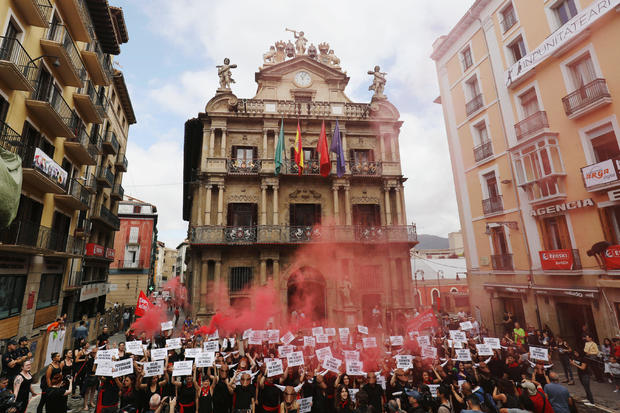 Animal rights protesters demonstrate for the abolition of bullfights a day before the start of the famous running of the bulls San Fermin festival in Pamplona