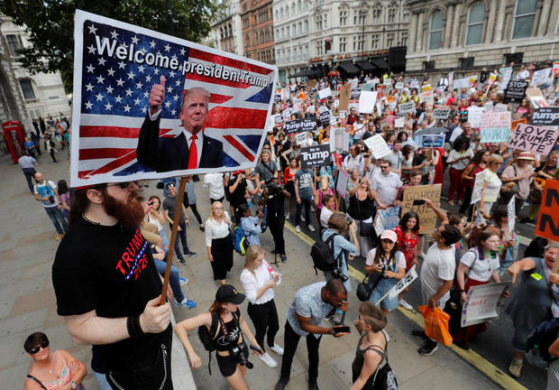 Protests mock Trump during U.K. visit