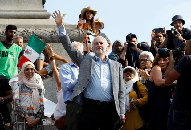 Britain's Labour Party leader Jeremy Corbyn joins other demonstrators at an anti-Trump protest in central London, Britain, July 13, 2018.