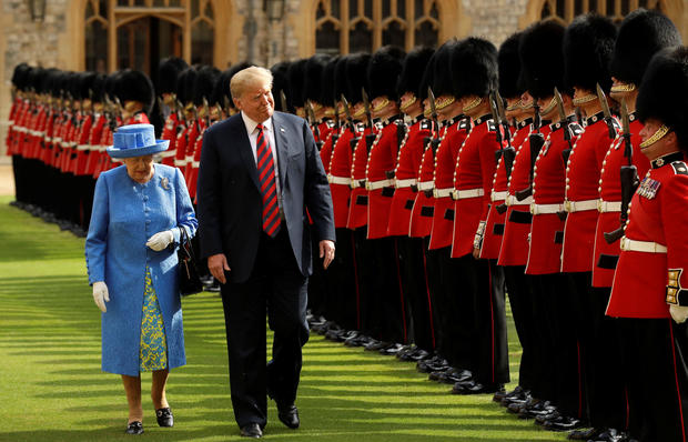 Britain's Queen Elizabeth and U.S. President Donald Trump inspect the Guard at Windsor Castle, Windsor