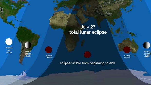 July 27 total lunar eclipse map from beginning to end