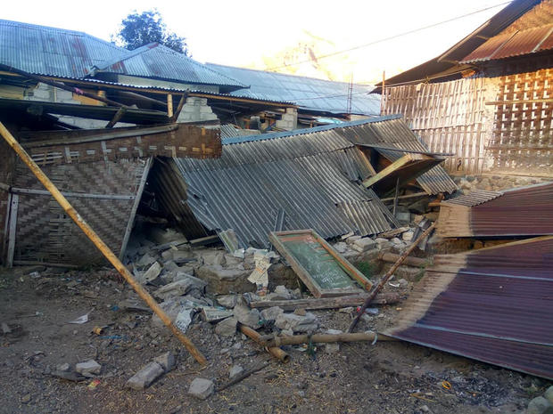 Damage is seen following an earthquake in Lombok