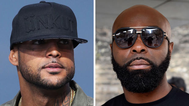 This combination of pictures made on Aug. 1, 2018, shows French rapper Booba, left, on May 19, 2014, in Cannes, France, and French rapper Kaaris on March 25, 2015, in Paris.