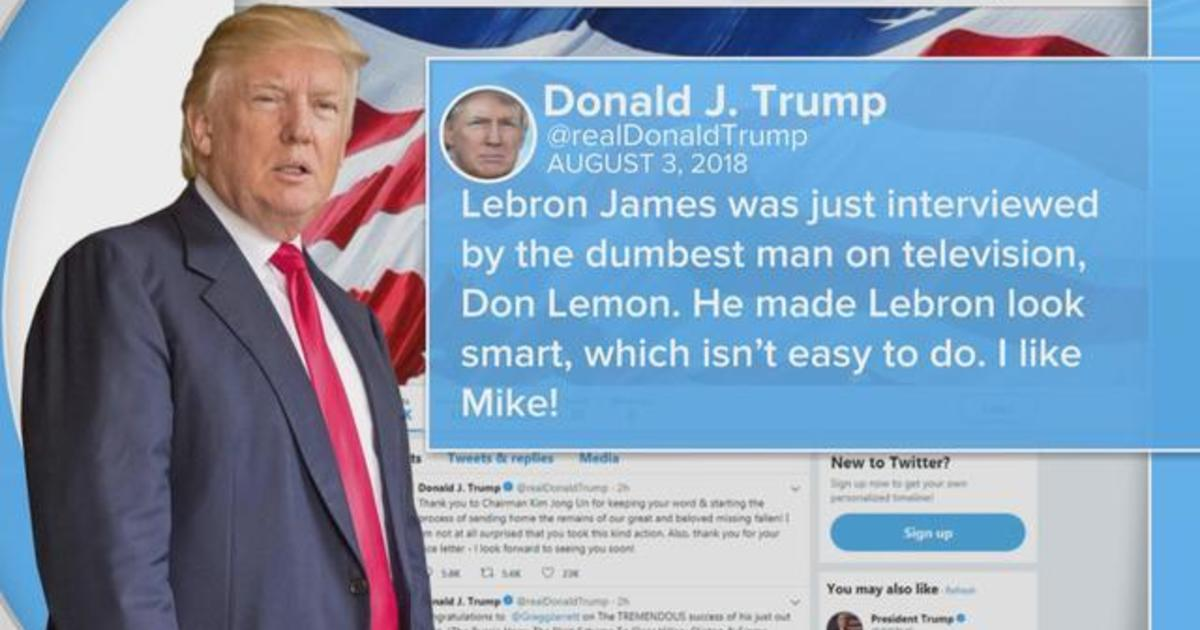 deaed99844d Trump takes a shot at Lebron James on Twitter - CBS News