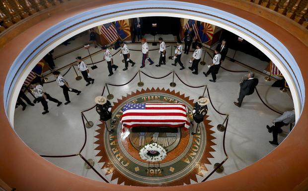 Arizona Sen. John McCain Lies In State In The Rotunda Of Arizona State Capitol