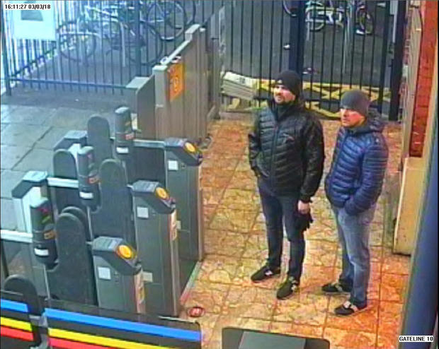 Alexander Petrov and Ruslan Boshirov, who were formally accused of attempting to murder former Russian intelligence officer Sergei Skripal and his daughter Yulia in Salisbury, are seen on CCTV in an image handed out by the Metropolitan Police