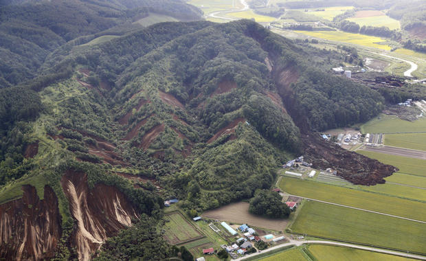Landslides caused by an earthquake are seen in Atsuma town
