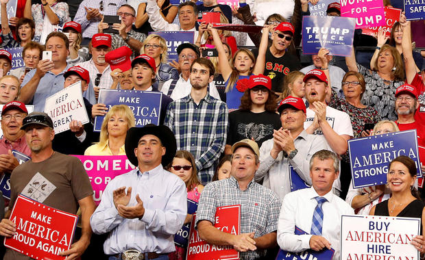 Unidentified man in a plaid shirt goes viral with his reactions to President Trump during a rally in Montana