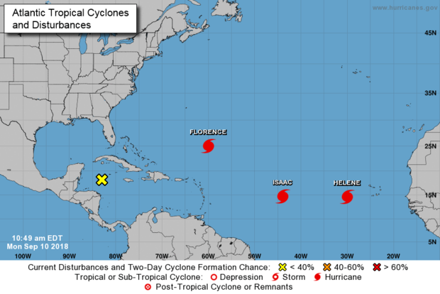 A map made by the National Hurricane Center shows three active storms in the Atlantic Ocean as of 11 a.m. ET on Sept. 10, 2018.