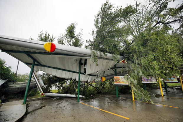 A fallen tree lies atop the crushed roof of a fast food restaurant after the arrival of Hurricane Florence in Wilmington, North Carolina