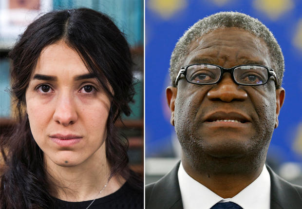 Combination picture shows the Nobel Prize for Peace 2018 winners