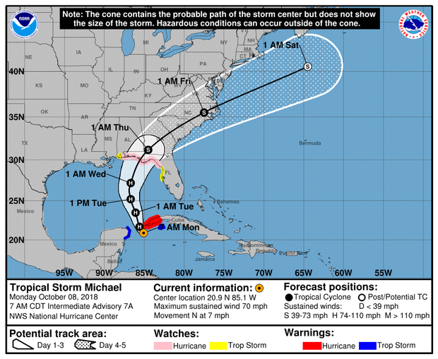A map made by the National Hurricane Center shows the projected path of Tropical Storm Michael as of 8 a.m. on Oct. 8, 2018.
