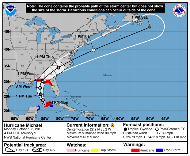 A map made by the National Hurricane Center shows the projected path of Hurricane Michael as of 5 p.m. ET on Oct. 8, 2018.