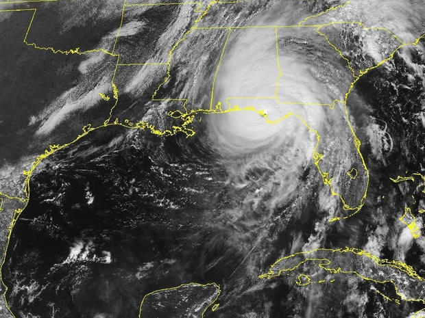 A satellite image shows Hurricane Michael as it was making landfall in the Florida Panhandle at 1:37 p.m. ET on Oct. 10, 2018.
