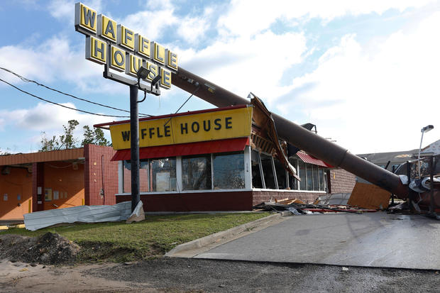 A Waffle House damaged by Hurricane Michael is seen in Callaway