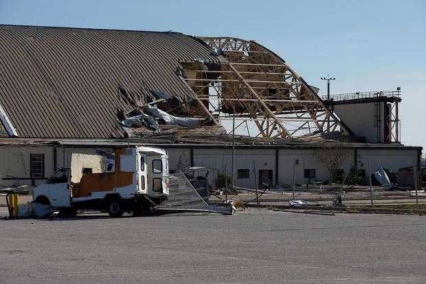 An aircraft hangar damaged by Hurricane Michael is seen at Tyndall Air Force Base