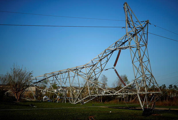 A transmission tower damaged by Hurricane Michael is seen in Callaway, Florida