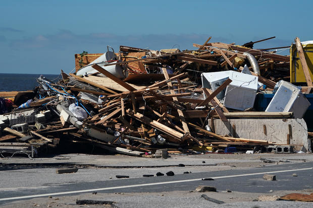 A bar that has been demolished is pictured following Hurricane Michael in Mexico Beach