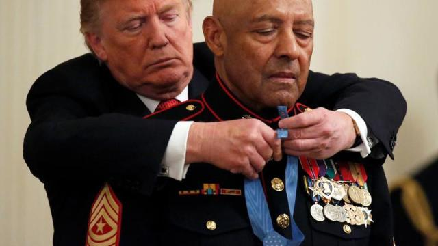 U.S. President Donald Trump awards the Congressional Medal of Honor to retired Marine Corps Sergeant Major John L. Canley in Washington