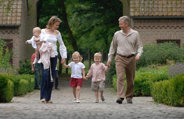 Princess Mathilde, Prince Emmanuel, Crown Prince Philippe, Prince Gabriel, Princess Elisabeth