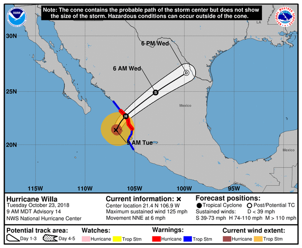A map made by the U.S. National Hurricane Center shows the projected path for Hurricane Willa as of 11 a.m. ET on Oct. 23, 2018.