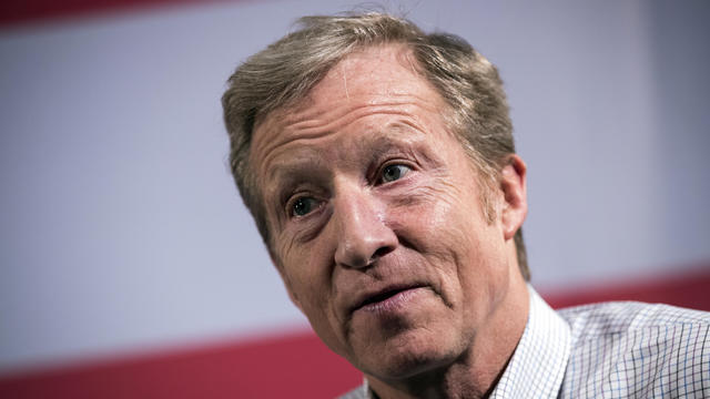 Hedge fund billionaire and Democratic fundraiser Tom Steyer speaks during a town hall event at the DoubleTree Suites by Hilton hotel in Times Square Jan. 29, 2018, in New York City.