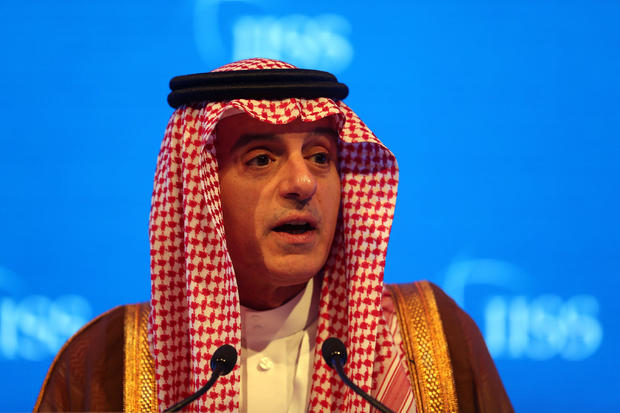 Saudi Arabia's Foreign Minister Adel bin Ahmed Al-Jubeir speaks during the second day of the 14th Manama dialogue, Security Summit in Manama