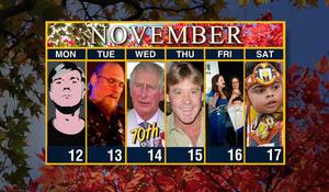 Calendar: Week of November 12