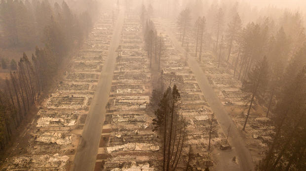 In this aerial photo, a burned neighborhood is seen in Paradise, California, on Nov. 15, 2018.
