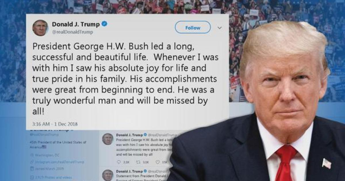 Trump Praises The Life And Contributions Of George H W Bush Cbs News