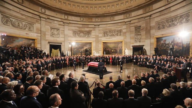 Congressional Leaders Host Arrival Ceremony  At Capitol For Late President George H.W. Bush
