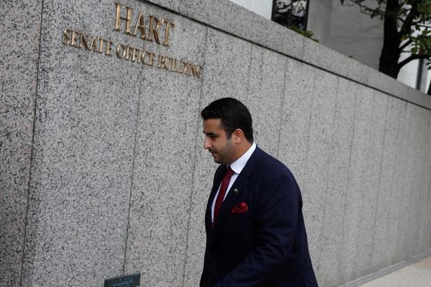 Saudi Arabian ambassador to the United States Prince Khalid bin Salman bin Abdulaziz arrives on Capitol Hill in Washington
