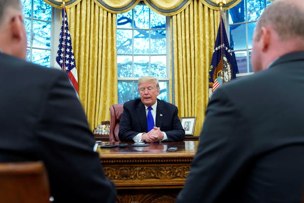 U.S. President Donald Trump sits for interview with Reuters at the White House in Washington