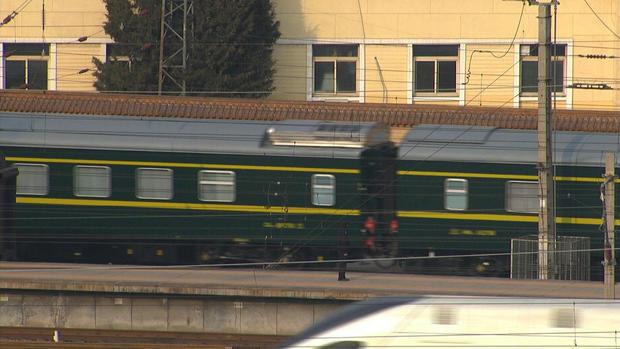 Train believed to be carrying North Korean leader Kim Jong Un leaves Beijing Railway Station in Beijing