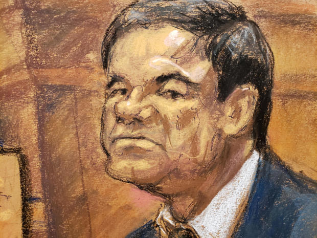 "A courtroom sketch shows accused Mexican drug lord Joaquin ""El Chapo"" Guzman sitting during his trial in Brooklyn federal court in New York Dec. 18, 2018."