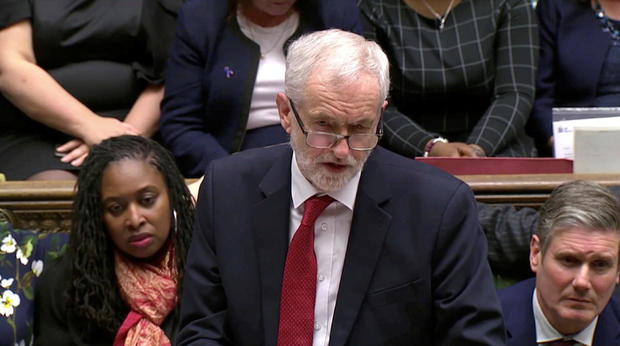 Labour party leader Jeremy Corbyn addresses Parliament after the vote on May's Brexit deal, in London