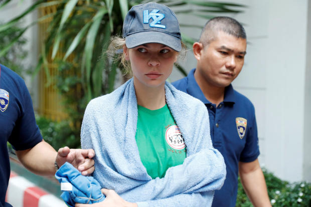 Anastasia Vashukevich, a Belarusian model and escort who caused a stir last year after she was arrested in Thailand and said she had evidence of Russian interference in the 2016 U.S. presidential election, is pictured at an Immigration detention center be