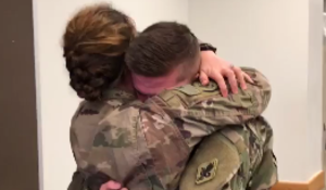 Military wife surprises her fellow officer husband after 8 months in Iraq