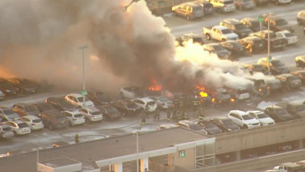 Newark Airport parking garage fire damages numerous vehicles