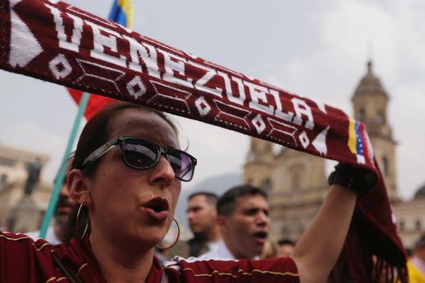 People gather in support of Venezuela's opposition leader Juan Guaido, in Bogota