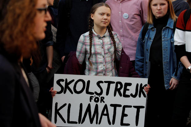 Swedish environmental activist Greta Thunberg takes part in a protest claiming for urgent measures to combat climate change in Paris