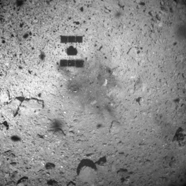 Hayabusa 2 space probe is seen after it landed on the Ryugu asteroid, in this handout image released by Japan Aerospace Exploration Agency