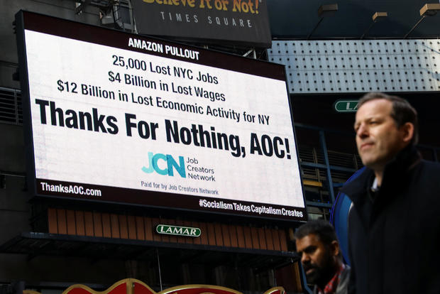 Times Square billboard displays statement about U.S. Rep. Ocasio-Cortez's Amazon pullout in New York City