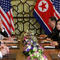 North Korea's leader Kim Jong Un and U.S. President Donald Trump look on during the extended bilateral meeting in the Metropole hotel during the second North Korea-U.S. summit in Hanoi