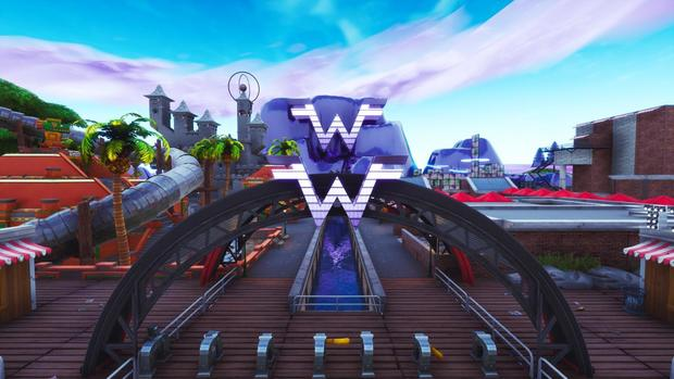 weezer island in fortnite season 8 is being used to promote weezer s new black album cbs news - fortnite season 8 event thumbnail