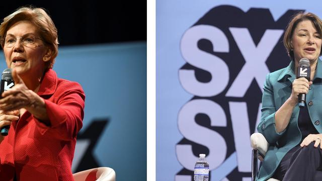 U.S. Senator Elizabeth Warren speaks about her policy ideas with Anand Giridharadas at the South by Southwest (SXSW) conference and festivals in Austin, Texas